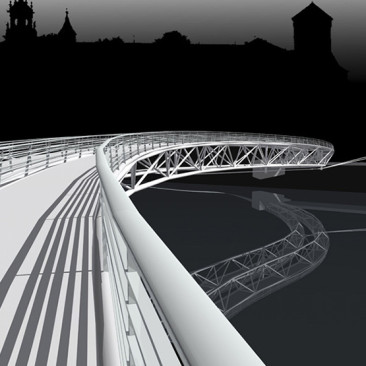 Koncepcja architektoniczno-urbanistyczna kładki pieszo-rowerowej przez Wisłę wraz zzagospodarowaniem jej przyczółków wrejonie bulwarów wKrakowie